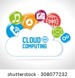 cloud computing design  vector... | Shutterstock .eps vector #308077232