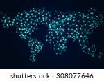 world map vector mosaic art | Shutterstock .eps vector #308077646