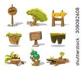 cartoon nature elements  vector ...   Shutterstock .eps vector #308082608