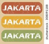 jakarta stamp | Shutterstock . vector #308091188