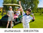 children playing golf and... | Shutterstock . vector #308104706