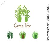 green tree logo design template.... | Shutterstock .eps vector #308108588