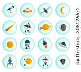 set of vector space icons in... | Shutterstock .eps vector #308126672