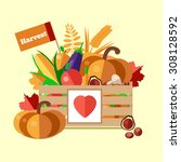 wooden box with autumn fruits... | Shutterstock .eps vector #308128592