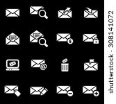 vector white email icon set. | Shutterstock .eps vector #308141072