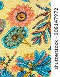 texture of vintage print fabric ... | Shutterstock . vector #308147972