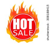 hot sale badge circle on fire | Shutterstock .eps vector #308188415