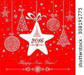 happy new year 2016  vintage...   Shutterstock . vector #308191775