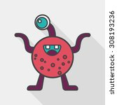 space alien flat icon with long ... | Shutterstock .eps vector #308193236