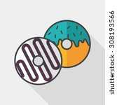 donut flat icon with long... | Shutterstock .eps vector #308193566