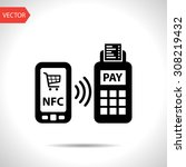 nfc payment from mobile phone... | Shutterstock .eps vector #308219432