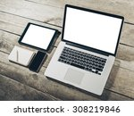 work space  laptop | Shutterstock . vector #308219846