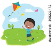 boy playing kite. vector... | Shutterstock .eps vector #308221472