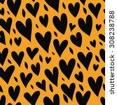 funny hearts. seamless vector... | Shutterstock .eps vector #308238788
