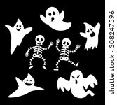 set ghosts and skeleton of... | Shutterstock .eps vector #308247596