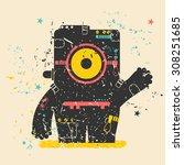 cute monster on retro grunge...   Shutterstock .eps vector #308251685