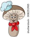 mushroom cook chef's hat | Shutterstock .eps vector #308251985