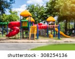 blurred of playground on day... | Shutterstock . vector #308254136