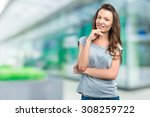 woman outside the business... | Shutterstock . vector #308259722