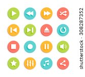 media player circle vector... | Shutterstock .eps vector #308287352