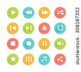 media player circle vector... | Shutterstock .eps vector #308287352