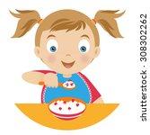 girl with a bowl of porridge... | Shutterstock .eps vector #308302262