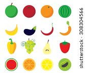 various fruits and vegetables... | Shutterstock .eps vector #308304566