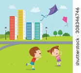 happy kids playing kites....   Shutterstock .eps vector #308346746