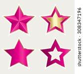 vector pink metallic stars | Shutterstock .eps vector #308347196