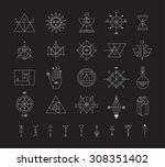 set of vector trendy geometric... | Shutterstock .eps vector #308351402