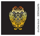 lion with graphic patterns. | Shutterstock .eps vector #308366696