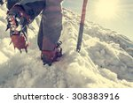 close up of hiking shoes with... | Shutterstock . vector #308383916