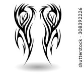 hand drawn tribal tattoo in... | Shutterstock .eps vector #308392226