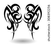 hand drawn tribal tattoo in... | Shutterstock .eps vector #308392256