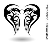 hand drawn tribal tattoo in... | Shutterstock .eps vector #308392262