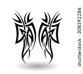 hand drawn tribal tattoo in... | Shutterstock .eps vector #308392286
