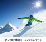 snowboarder skiing in high... | Shutterstock . vector #308417948