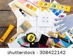 construction instruments  plan... | Shutterstock . vector #308422142