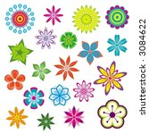 flowers set | Shutterstock .eps vector #3084622