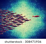 one fish swimming the opposite... | Shutterstock . vector #308471936