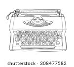 orange vintage typewriters and... | Shutterstock . vector #308477582