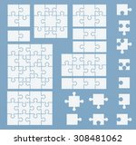Stock vector parts of puzzles on blue template set of puzzle pieces 308481062