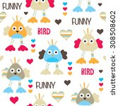 seamless pattern with funny... | Shutterstock .eps vector #308508602