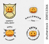 happy halloween badges logos... | Shutterstock .eps vector #308513366