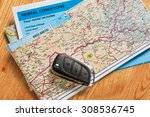 car remote key on map and... | Shutterstock . vector #308536745