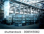 big storage room with metal... | Shutterstock . vector #308545082