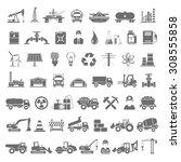 black icons   industry  energy  ... | Shutterstock .eps vector #308555858