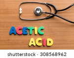 Small photo of Acetic Acid colorful word on the wooden background