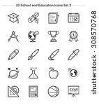 line icon   school and... | Shutterstock .eps vector #308570768