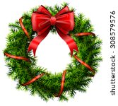 christmas wreath with red bow... | Shutterstock .eps vector #308579576